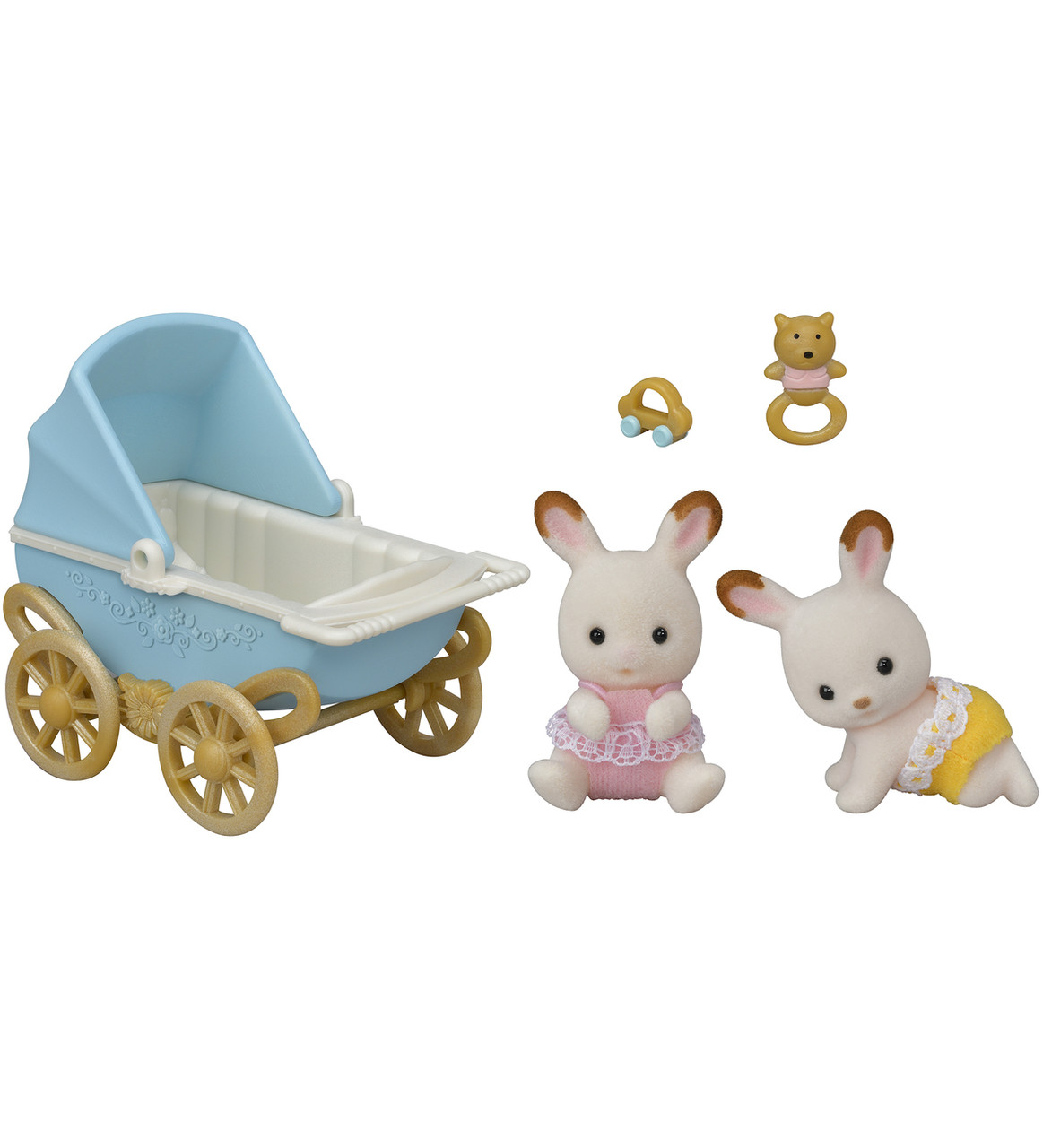 Sylvanian families 5432 Шоколодные кролики Двойняшки в коляске  Epoch