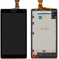 Дисплейный модуль для Sony Xperia ZL C6502 / С6503 L35h, с рамкой, черный, оригинал