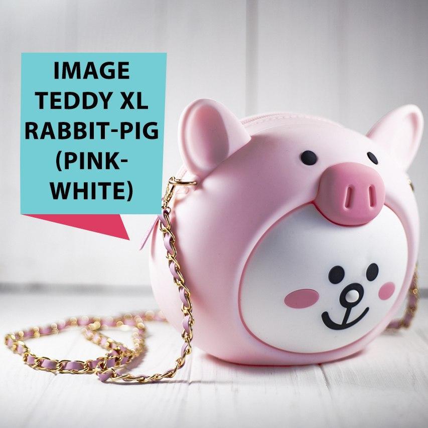 Детская силиконовая сумочка TEDDY Rabbit-pig, Pink/white