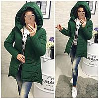Куртка парка женская (305) зима зеленый, фото 1