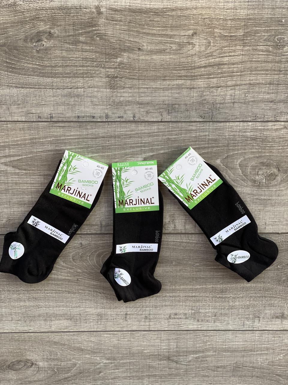 Чоловічі шкарпетки короткі бамбук Marjinal однотонні в сітку 40-45 12 шт в уп чорні