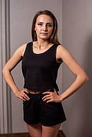 Женская трикотажная пижама майка с шортами черного цвета