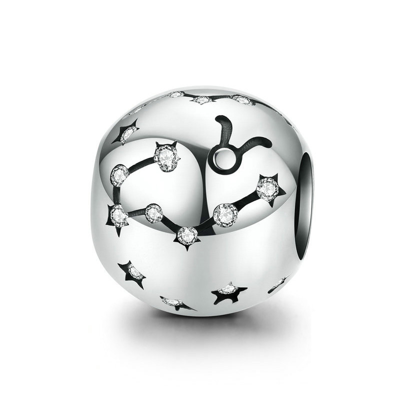 """Шарм """"Знак зодиака Телец"""" серебро 925 проба, кубический цирконий"""