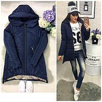Куртка парка женская (305) зима синего цвета, фото 1