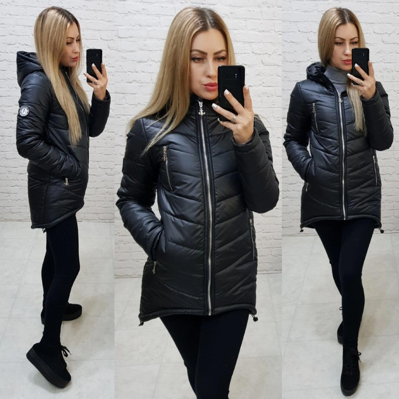Куртка-парка (арт. 300) черная / черный / черного цвета