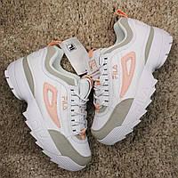 🔥 Fila Disruptor 2 White Gray Orange Кроссовки Фила 🔥 Фила женские кроссовки 🔥