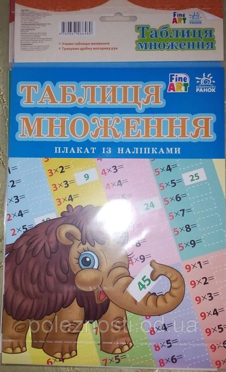 """Плакат с наклейками """"Таблица умножения"""""""