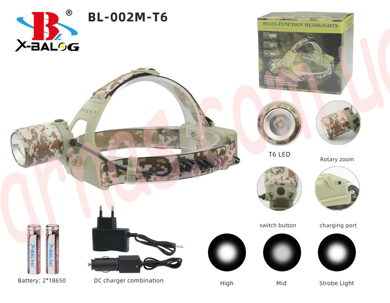 Аккумуляторный налобный фонарь BL-002M-T6