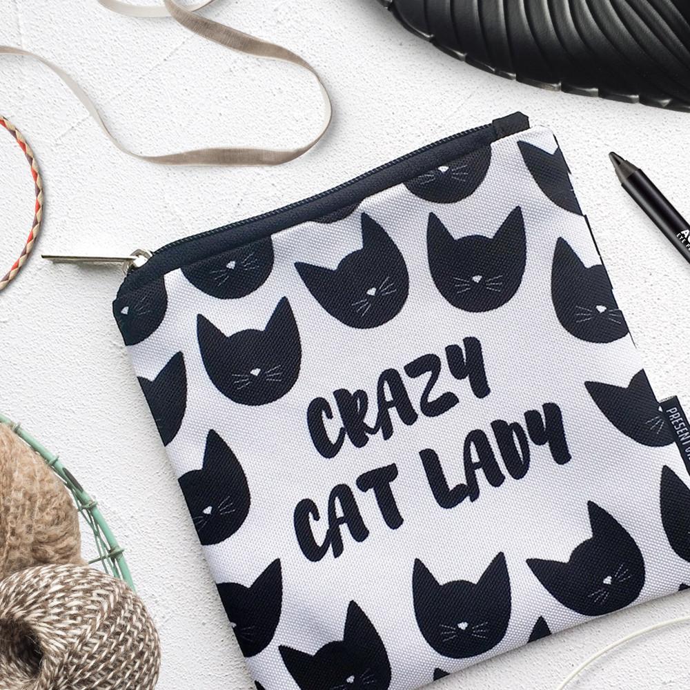 Косметичка квадратная Basic Сrazy cat lady (KB_19M019_BL)