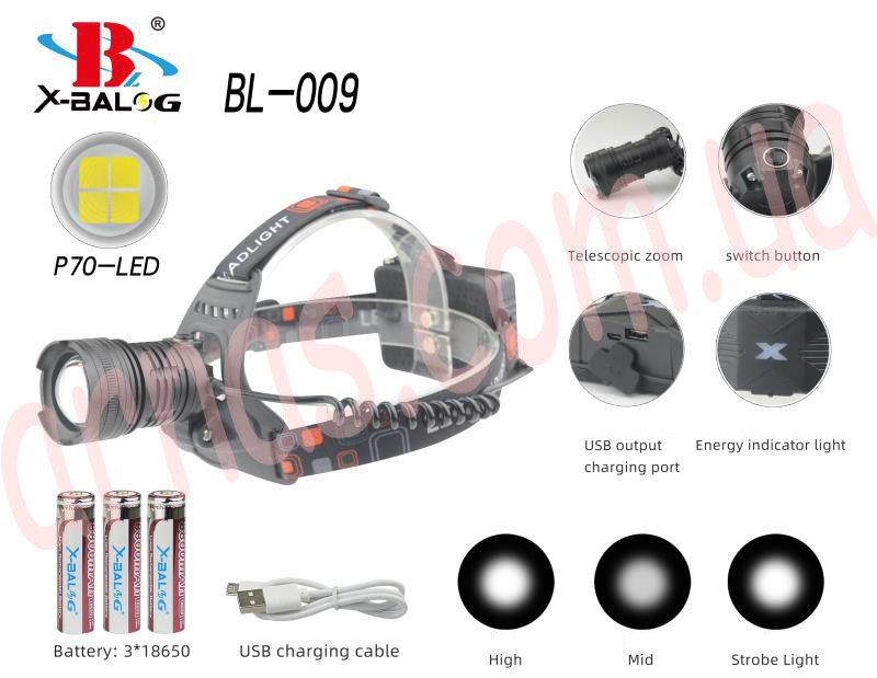 Аккумуляторный налобный фонарь BL-009-P90