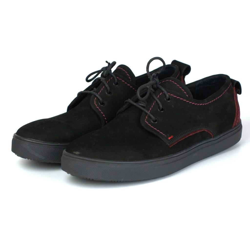 Кроссовки слипоны нубуковые черные мужская обувь Rosso Avangard Slip-On Black-Red NUB