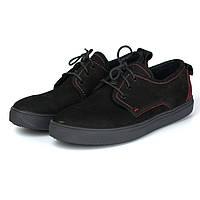 Кроссовки слипоны нубуковые черные мужская обувь Rosso Avangard Slip-On Black-Red NUB, фото 1