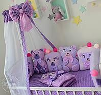 """Бортики в ліжечко , захист в дитяче ліжечко , бортики в кроватку  """"Фіолетово - рожеві бортики ведмедики """" 1994"""