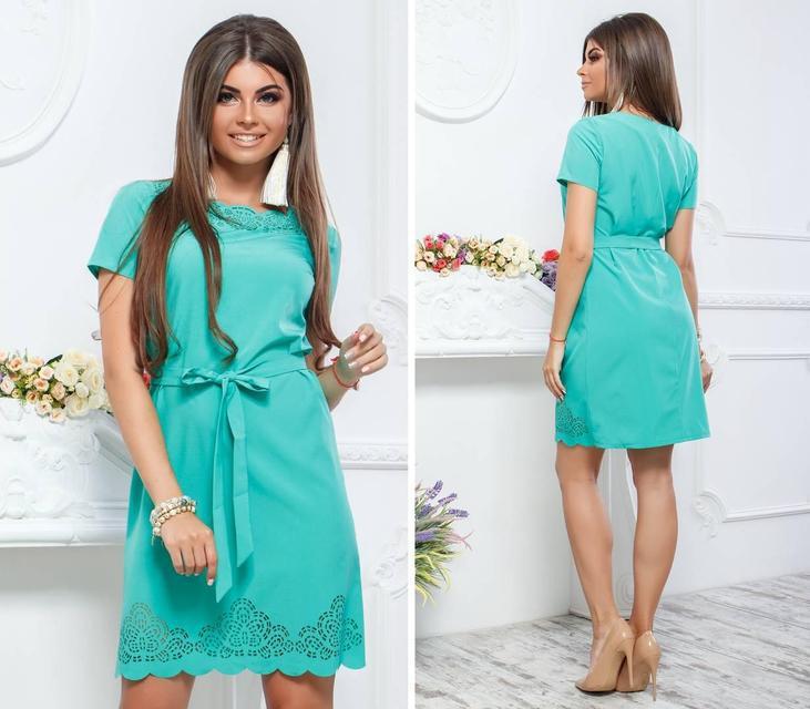 Платье с выбитым рисунком , модель 109, цвет Бирюза