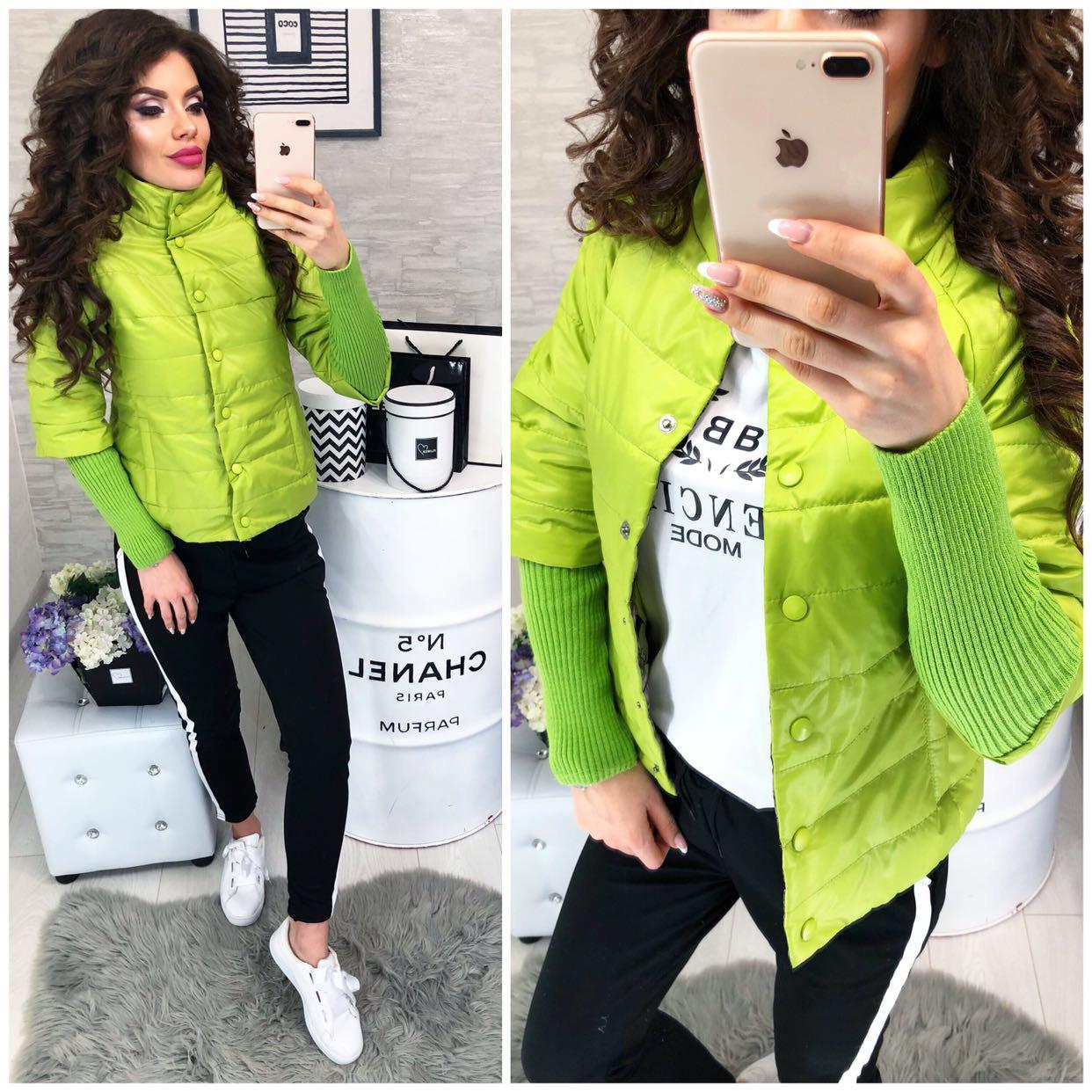 Куртка женская,  205, цвет желто-зеленый