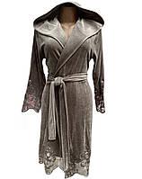 Халат женский велюровый (натуральный), размер S, М, Nusa