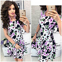 Платье короткое ,летнее, модель 103, цветочный принт на черном фоне