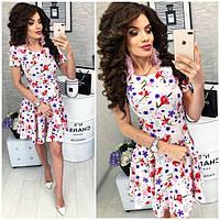 Платье короткое ,летнее, модель 103, цветочный принт на белом фоне