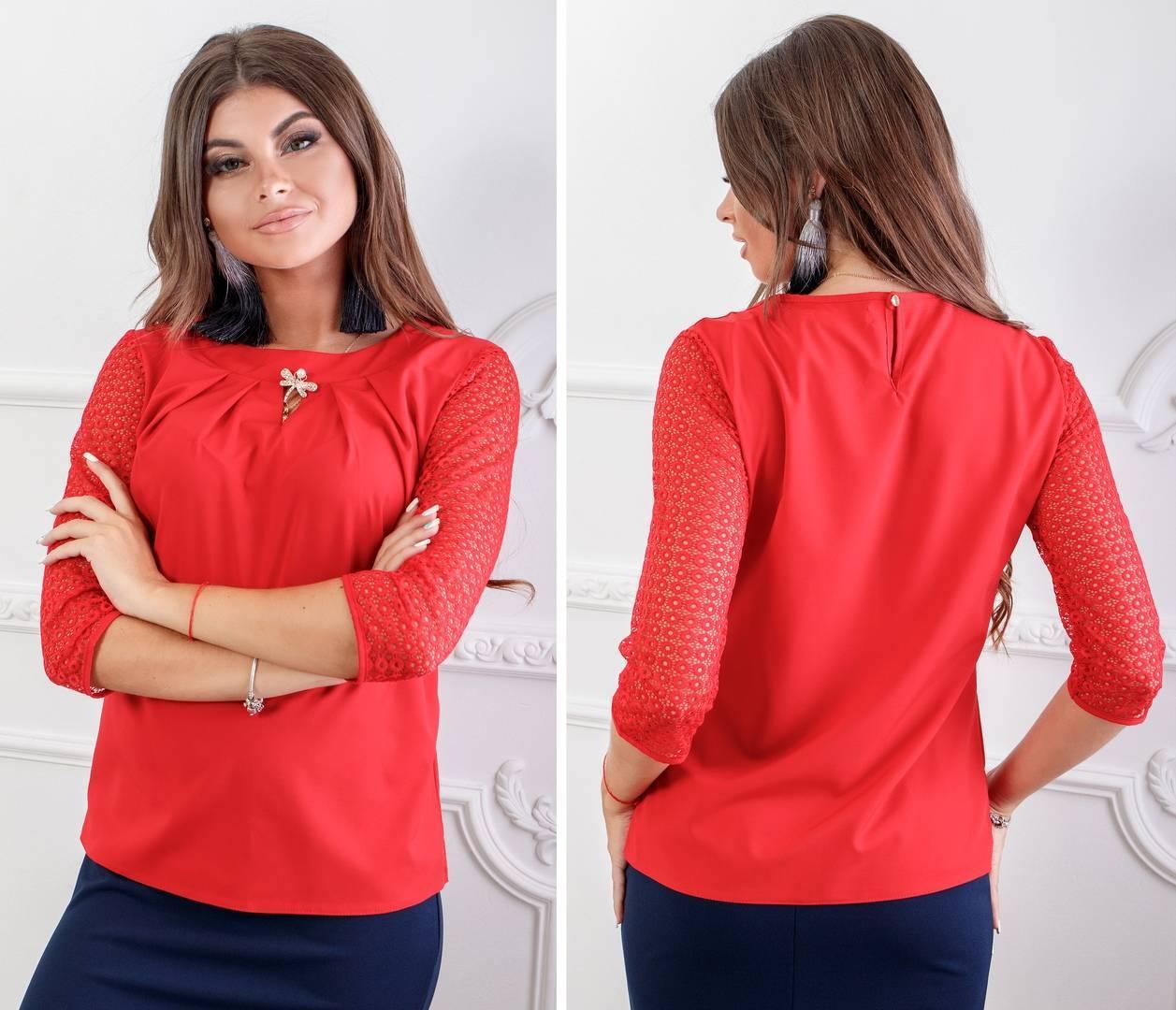 Блуза кружево арт. 122 красная