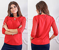 Блуза кружево арт. 122 красная, фото 1