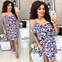 Платье короткое ,летнее  с воланом, модель 102,  принт голубые бабочки на белом фоне, фото 1