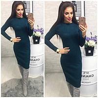 Платье 800/2 ангора софт люрекс изумрудный зеленый
