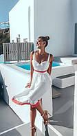Платье сарафан с коттона+ кружево белое, фото 1