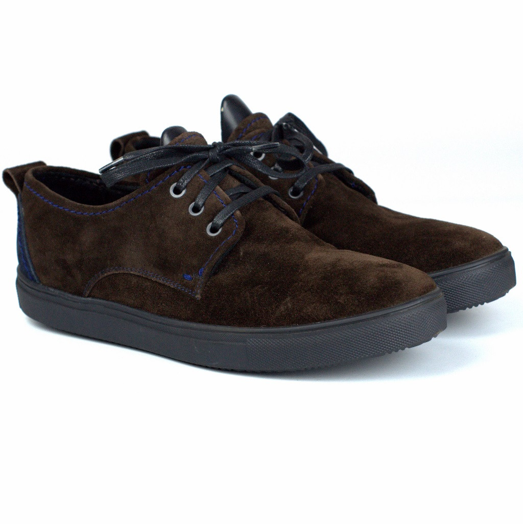 Коричневі кросівки сліпони замшеві чоловіче взуття великих розмірів Rosso Avangard Slip-On Brown-Blu Vel BS