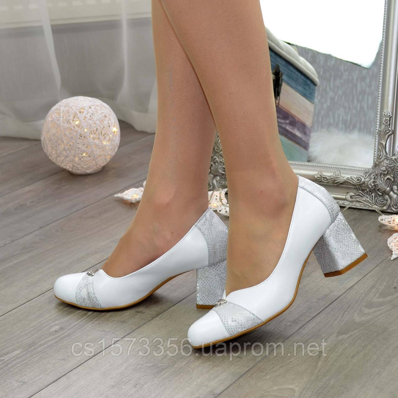 Туфли женские на невысоком устойчивом каблуке, натуральная кожа
