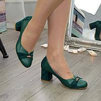 Туфли женские на невысоком устойчивом каблуке, натуральная кожа и замша зеленого цвета, фото 1