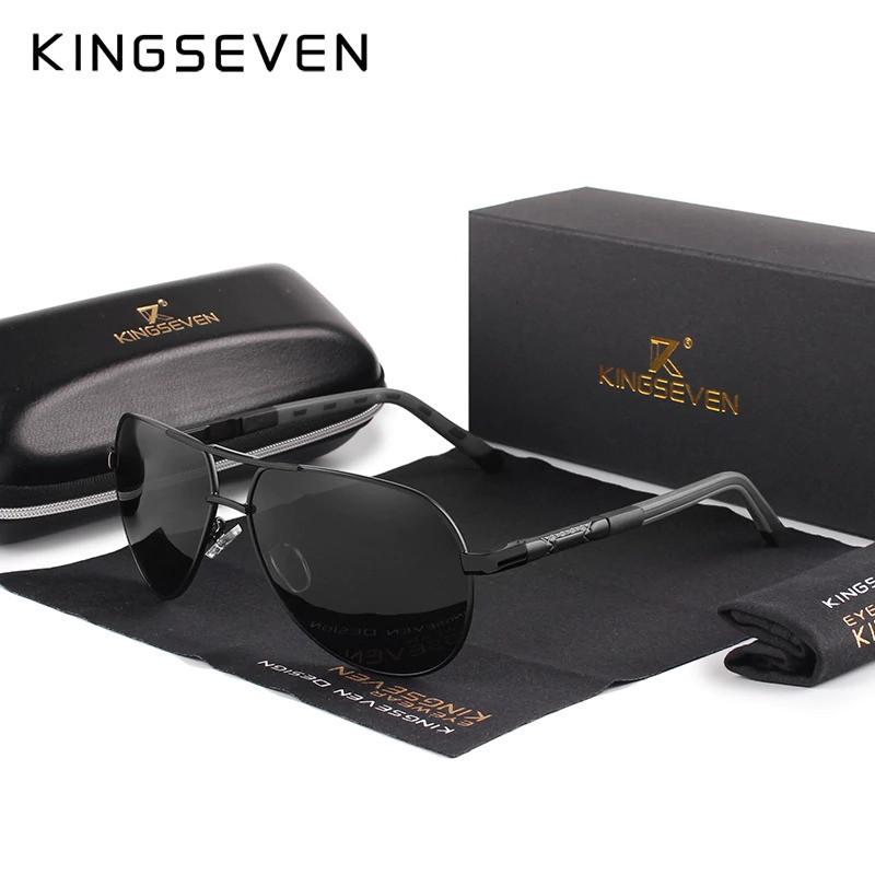 Поляризованные солнцезащитные очки с футляром KINGSEVEN K725 Black Gray
