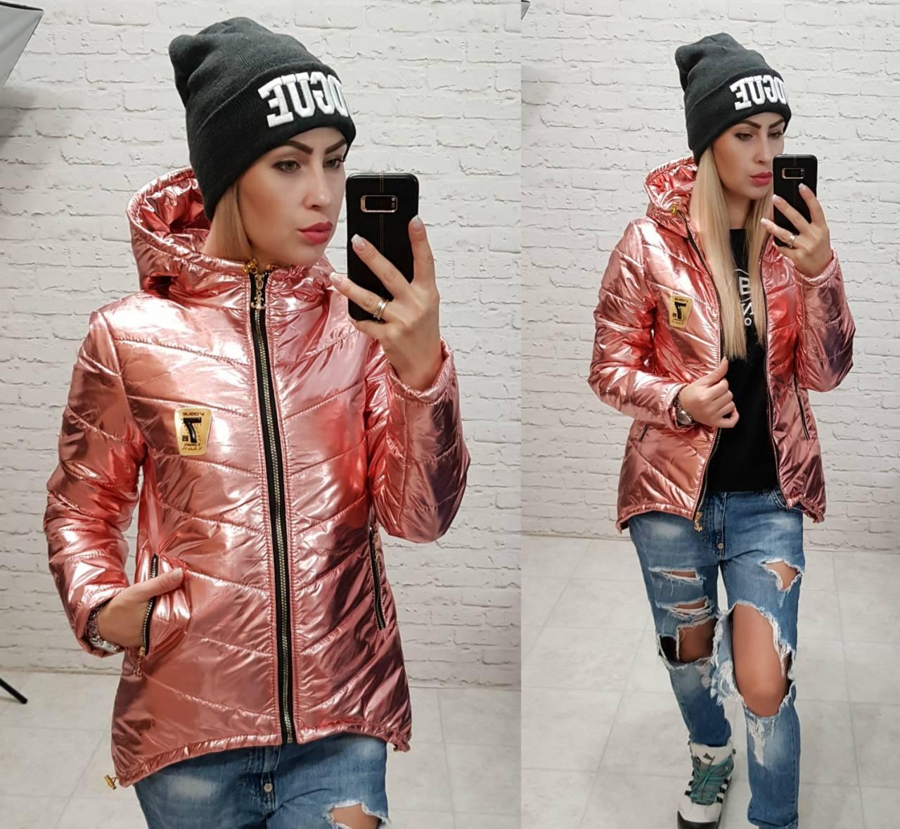 Куртка парка короткая осень / весна  арт. 210/7 розовый металлик