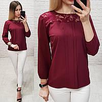 Блуза з мереживом арт. 793 бордо / марсала / вишневий, фото 1