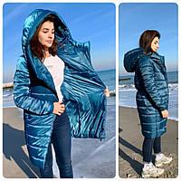 M522 Пальто парка удлинённое oversize  марокканский сине зелёный