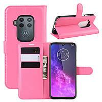 Чехол Luxury для Motorola One Zoom книжка розовый