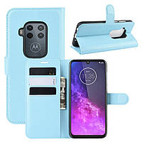 Чехол Luxury для Motorola One Zoom книжка голубой