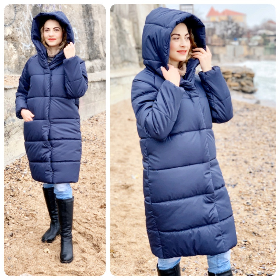 M530 Пуховик одеяло зима средней длины  синего цвета / синий