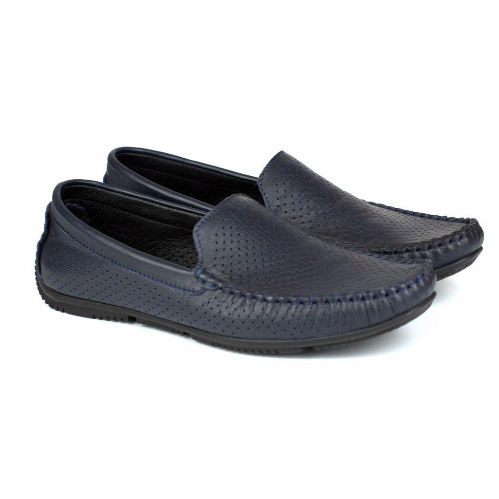 Мокасины синие кожаные с перфорацией летняя мужская обувь Rosso Avangard PerfBlu Fly