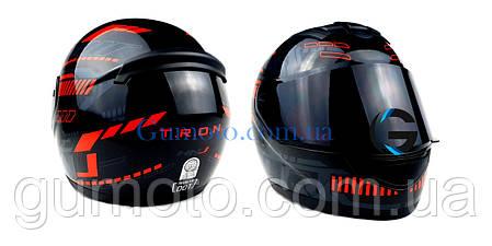 Шлем для мотоциклов Hel-Met 902 закрытый черный с красным  ( тонированое стекло) размер L, фото 2