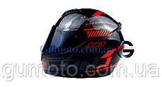 Шлем для мотоциклов Hel-Met 902 закрытый черный с красным  ( тонированое стекло) размер L, фото 3