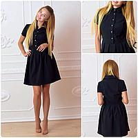 Платье (738) в горошек черное