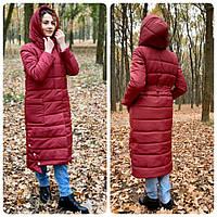 M032 Пальто одеяло зимнее на молнии + кнопки вишня / вишневое / бордо