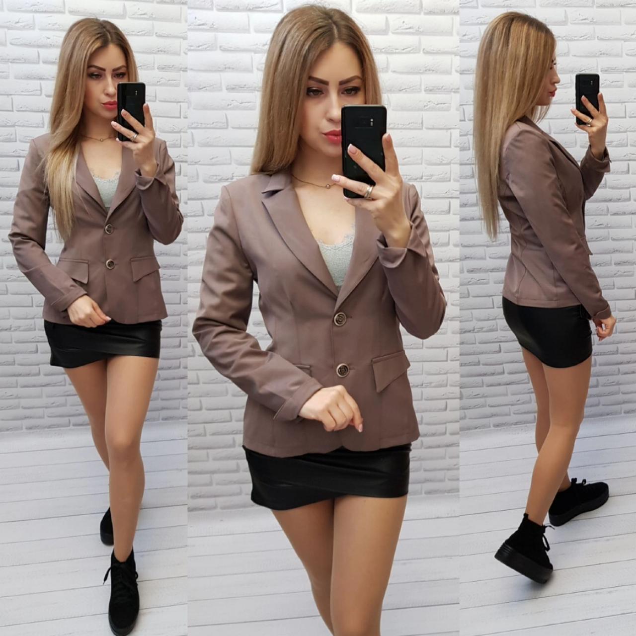 Пиджак / жакет с подкладкой рукав длинный S1088 серо - коричневый / мокко / кофе гляссе
