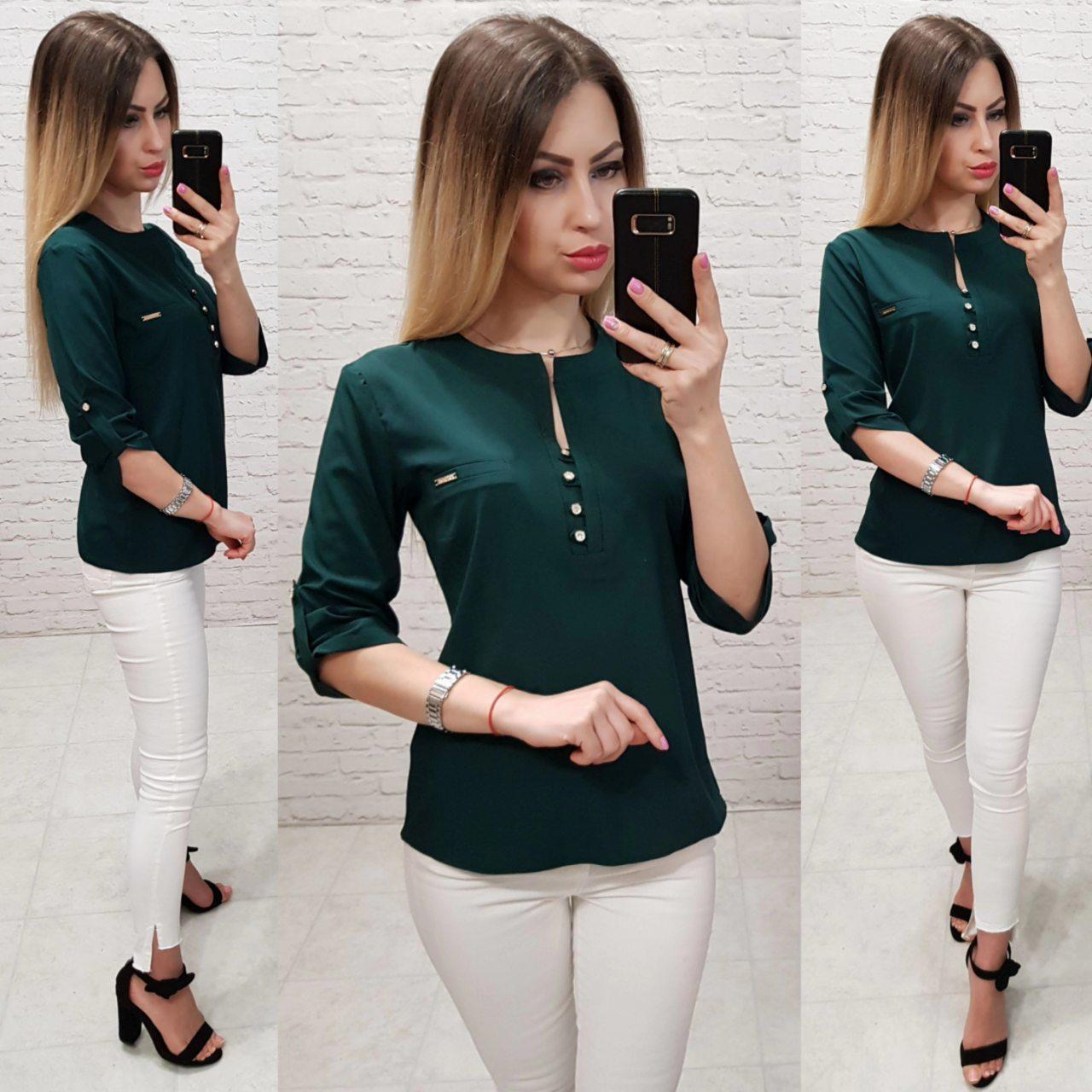 Блуза / блузка арт. 830 темно зелёный /темно зелёная / темно-зеленая