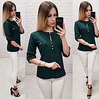 Блуза / блузка арт. 830 темно зелёный /темно зелёная / темно-зеленая, фото 1
