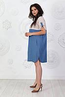 Платье летнее арт. А391 лен / джинс голубое в светлую полосу