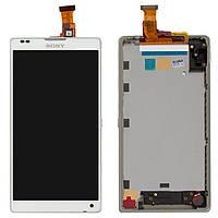Дисплейный модуль для Sony Xperia ZL C6502 L35h, с передней панелью, белый, оригинал