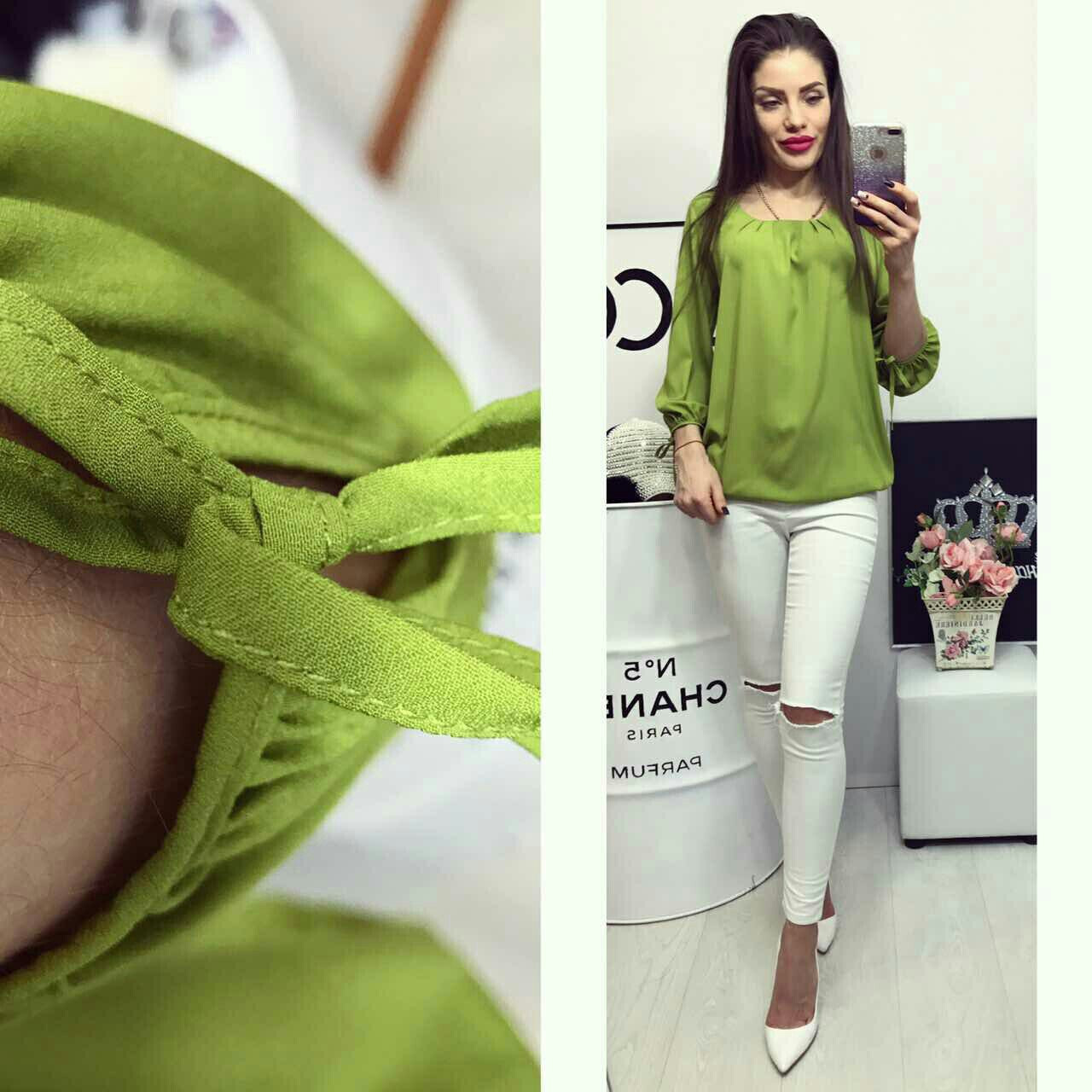 Блузка   арт 776  салатовая (зеленое яблоко)