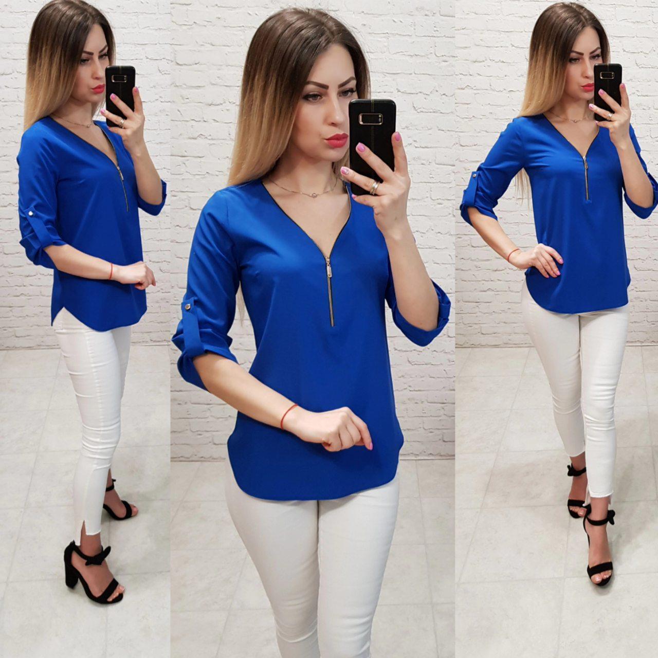 Блузка 158 Ткань: арт 158  електрик / ярко синий