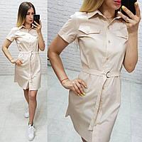 Платье - рубашка с поясом  арт. 171 бежевого цвета  / цвет бежевый
